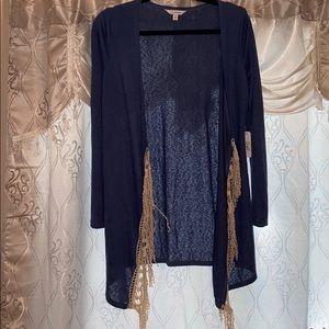 🌸NWT CHARMING CHARLIE cardigan/duster w/ crochet